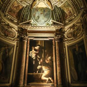 Róma Sant'Agostino templom Caravaggio Loretói Madonna