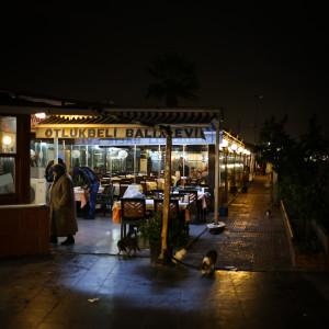 isztambuli tengerparti halas étterem éjjel